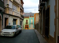 Pastel colour houses in Orba, Alicante, Spain