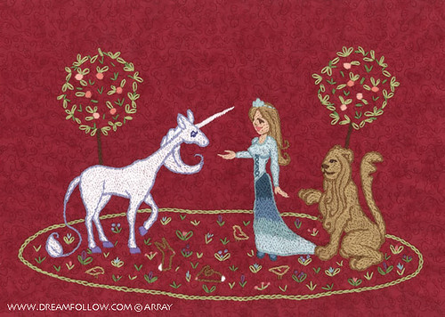 lady and unicorn embroidery