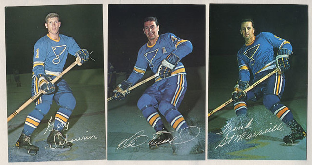 st louis blues 1968 hand signed hockey postcards by picard. Black Bedroom Furniture Sets. Home Design Ideas