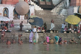 Morning bathers in the Ganges, Varanasi, India