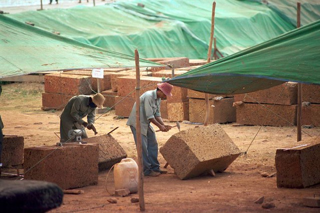 Fixing the temples - workers at Angkor Wat