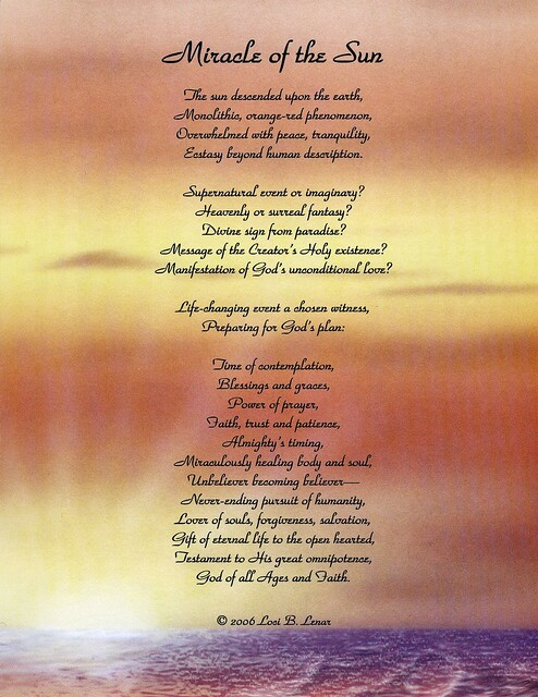 Miracle Of The Sun A Gift And Testimony Of A Spiritual P