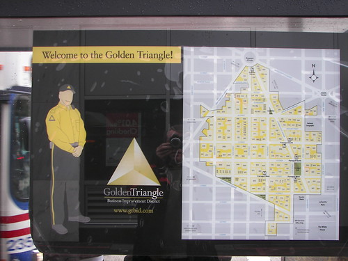 Golden Triangle map, affixed to a bus shelter