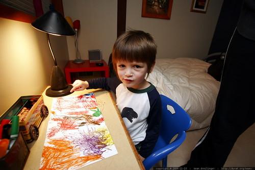 coloring his birthday card from great grandma joan    MG 5130