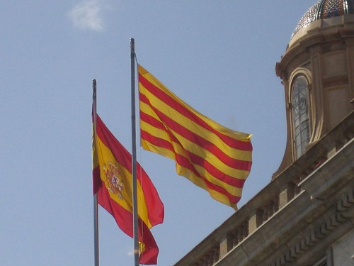 Spanish and Catalonian flags