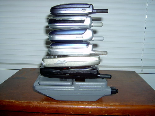 Cell Phones: Piled Up Side View