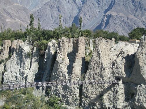 Free hanging suspension bridge over the Hunza river, just beyond Gilgit