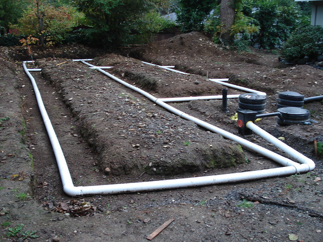 Back yard drain field system flickr photo sharing for Yard drain box