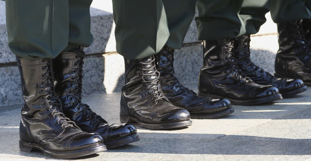 a row of military boots