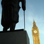 UK - London - Westminster: Parliament Square - Winston Churchill statue and Big Ben