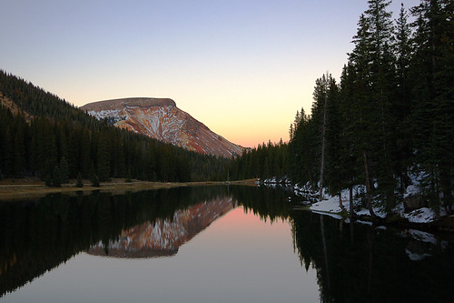 travel sunset usa mountain lake snow mountains reflection evening colorado sanjuanmountains denoldalake