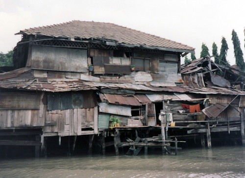 Slum on Chao Phraya River Bangkok Thailand 1995 by wordcat57