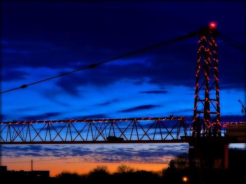 christmas longexposure sunset sky night lights twilight construction crane dusk christmaslights