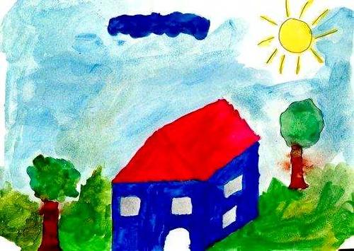 Haus, gemalt von Desirée