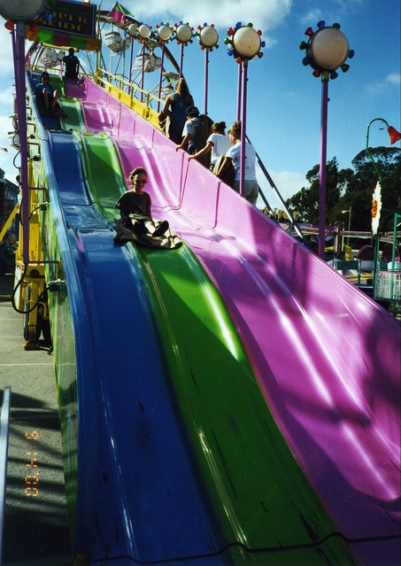 Sam and Arthur go down the slides at the 2000 Santa Cruz County Fair