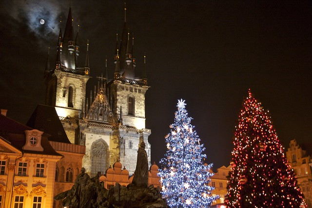 Moon over Prague Christmas Market