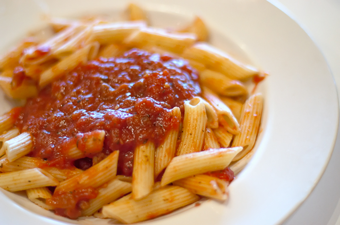 Penne Pasta with Meat Sauce at Pat & Oscar's in Temecula, California.