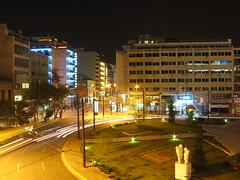 traffic circle at night