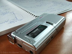 tape recorder and interview notes
