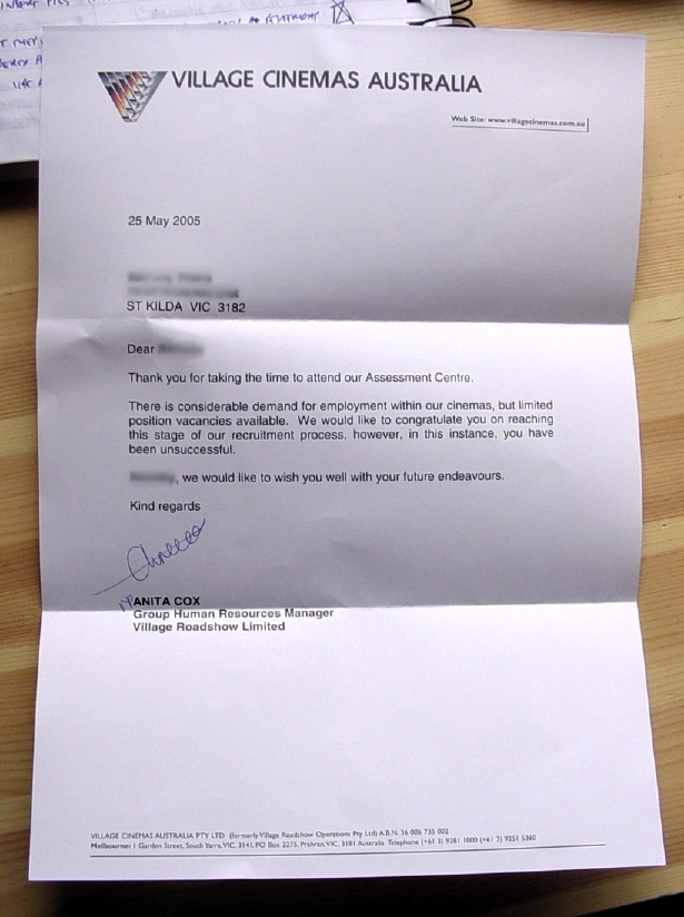 Village rejection letter
