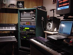 audio engineer(0.0), player piano(0.0), keyboard player(1.0), electronic device(1.0), piano(1.0), musical keyboard(1.0), studio(1.0), recording(1.0), electronic keyboard(1.0), electric piano(1.0), electronic instrument(1.0),