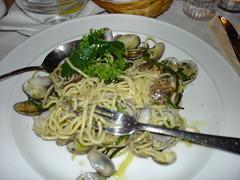 vegetarian food(0.0), produce(0.0), zucchini(0.0), meal(1.0), vegetable(1.0), italian food(1.0), spaghetti(1.0), food(1.0), dish(1.0), cuisine(1.0),