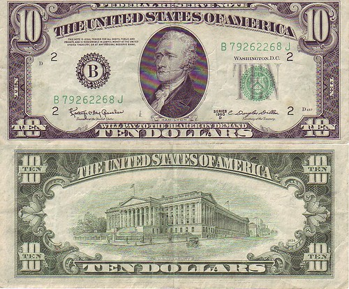 Ten-dollar bill obverse/reverse