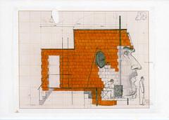 croxcard 42 Dirk Zoete (1969) Wonen in een hoofd als huiselijk avonturier, 2002 tekening 65x50 cm