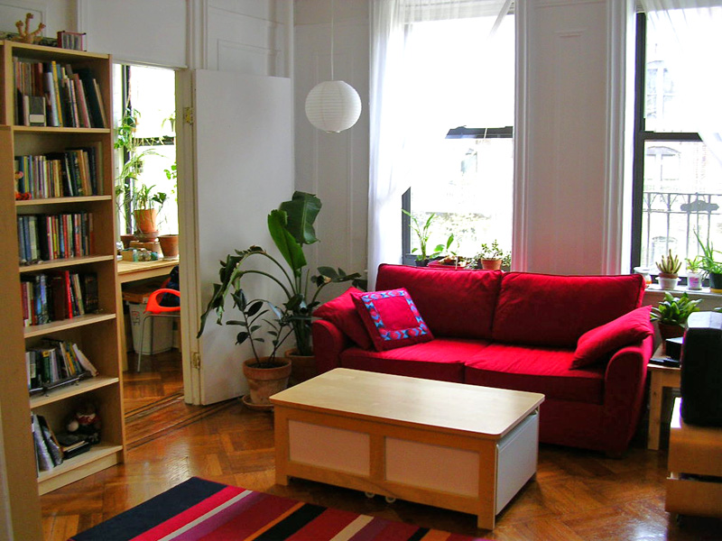 red couch in living room with bookshelf, plants, and lamps.