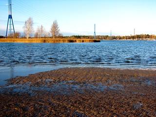 Image of  Hietarannan uimaranta  near  Helsinki. sea beach helsinki powerline hietaniemi hietsu