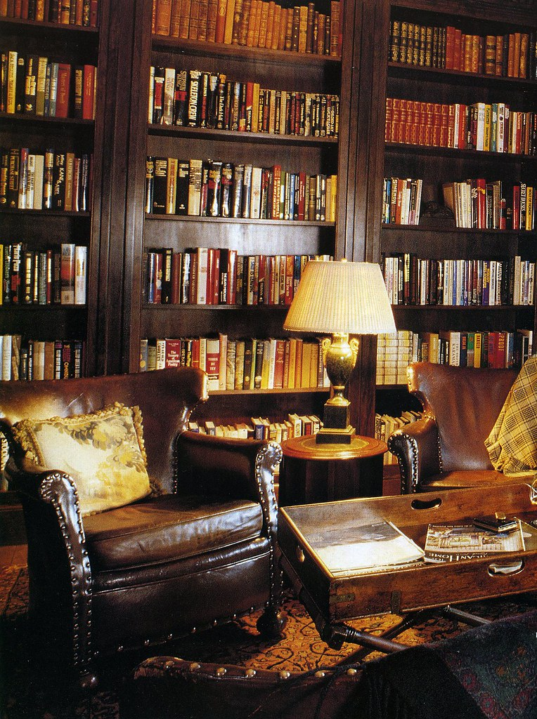 The steampunk home brown and gold library for Den study design ideas