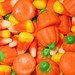 Candy corn and candy pumpkins closeup