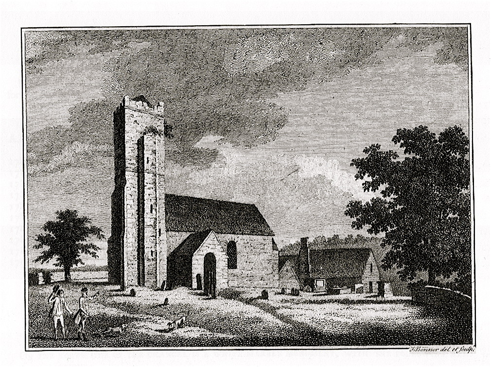 Engraving of Abbenhall church circa 1786