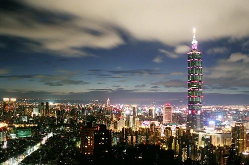 Taipei at night, with dreamy sky