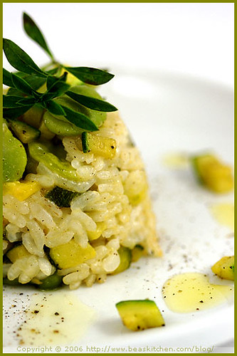 A Play with Food or a Fava Bean Risotto Timbale — Jeu de nourriture ou une timbale de risotto aux fèves