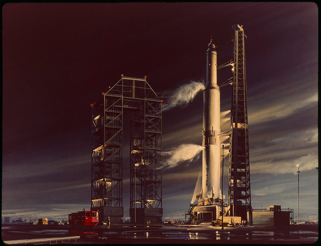 Artist concept painting of Apollo booster before lift-off
