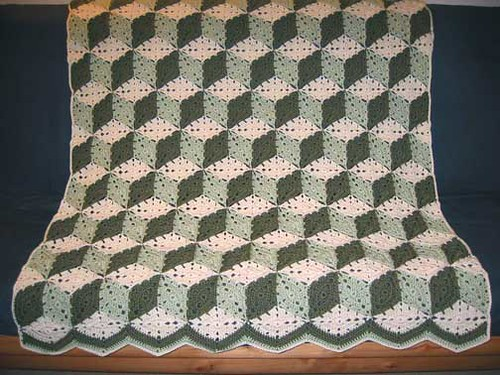 Tumbling Blocks Crochet Afghan Pattern Free : green tumbling blocks afghan Flickr - Photo Sharing!