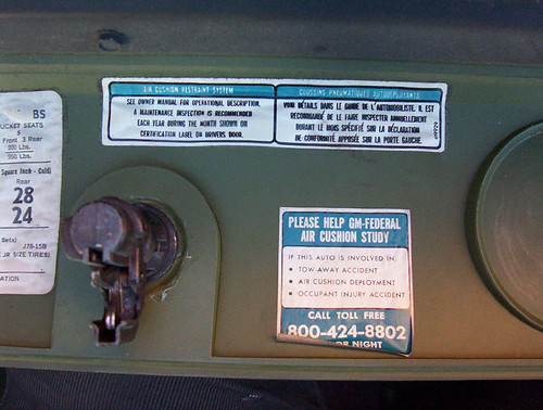 '75 Buick Electra glove box notes