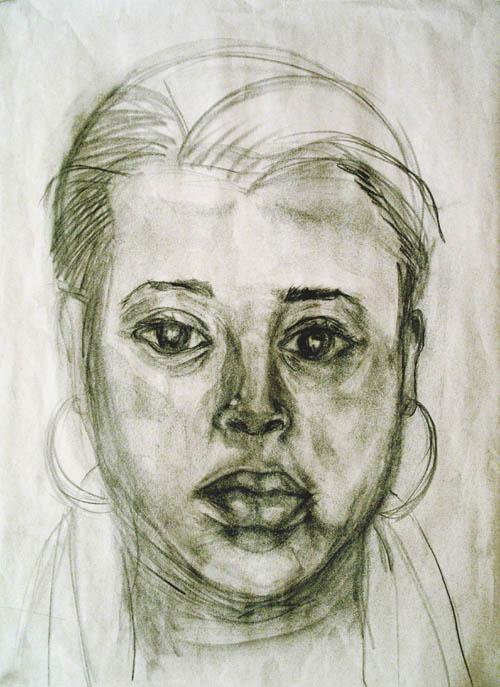 self portrait drawing by kiausha burch