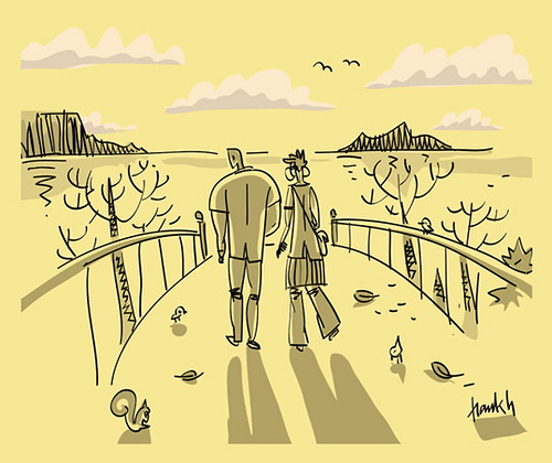 walking the fall // caminando el otoño - sketch by Frank.Hilzerman