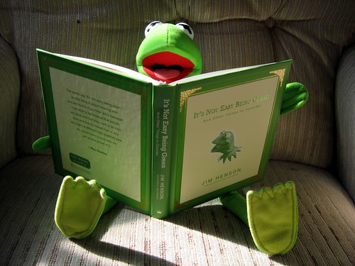 "Kermit Sunday morning reading the ""good"" book."