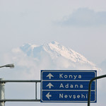 Mount Hasan behind traffic sign