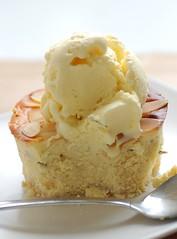 little ricotta & honey tarts with rosemary scented icecream