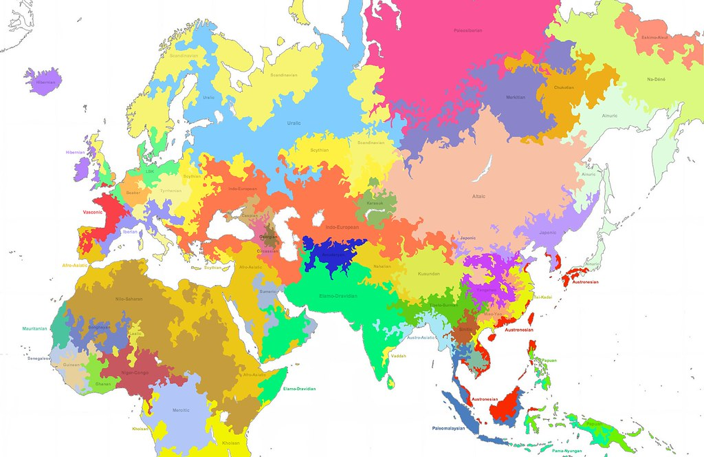 Language Map Of World.Linguistic Map Of The Old World 3800bce Language Families Flickr