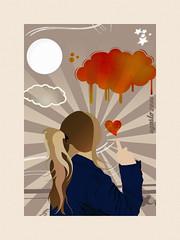 art, orange, drawing, poster, illustration,