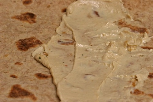Wrap with hummus spread