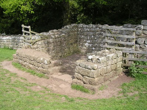 Brunton Turret with its entrance on the eastern side of the south wall, looking NW