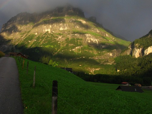 light sunset mountains schweiz switzerland rainbow grindelwald berner bernese oberland
