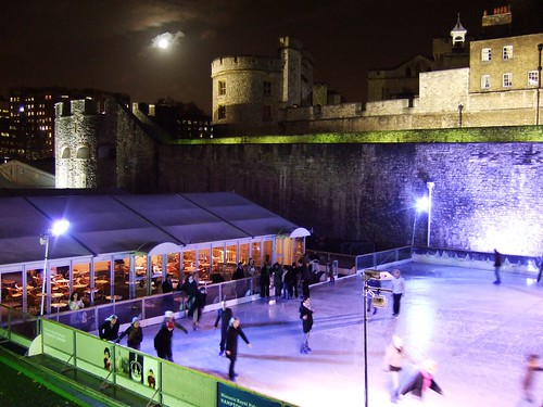 Skating by Tower of London England