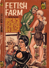 """Fetish Farm"" '50s pulp novel cover with a dude in a green gimp suit."
